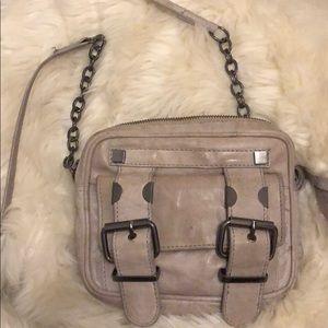 Handbags - Topshop Light Grey Crossbody Leather Chain Bag